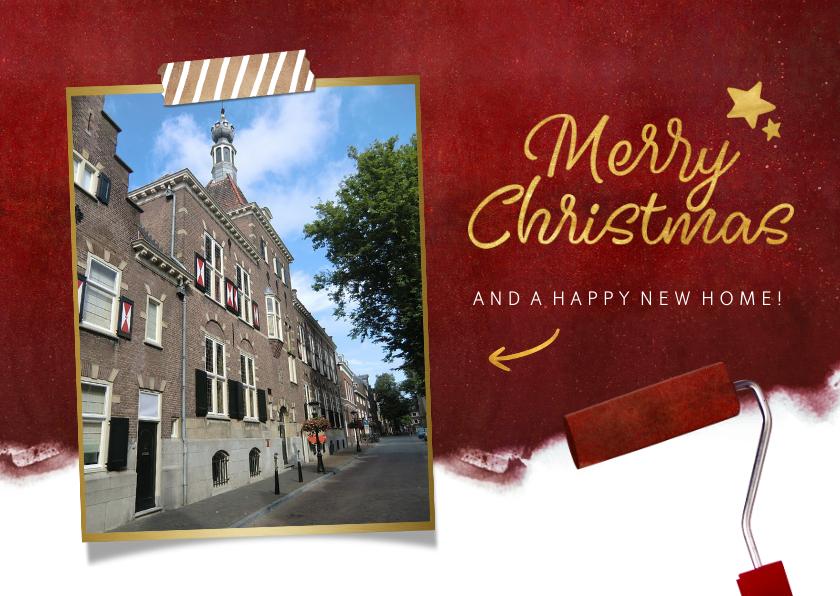 Kerstkaarten - Rode kerst verhuiskaart met verfroller en eigen foto