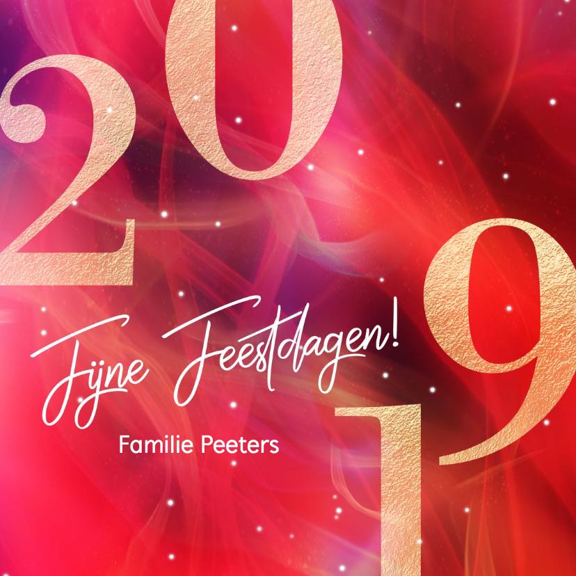 Kerstkaarten - Rode kerstkaart 2019 goud