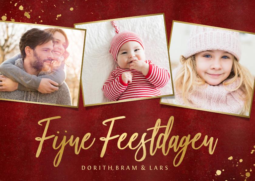 Kerstkaarten - Rode kerstkaart fotocollage 3 foto's gouden tekst
