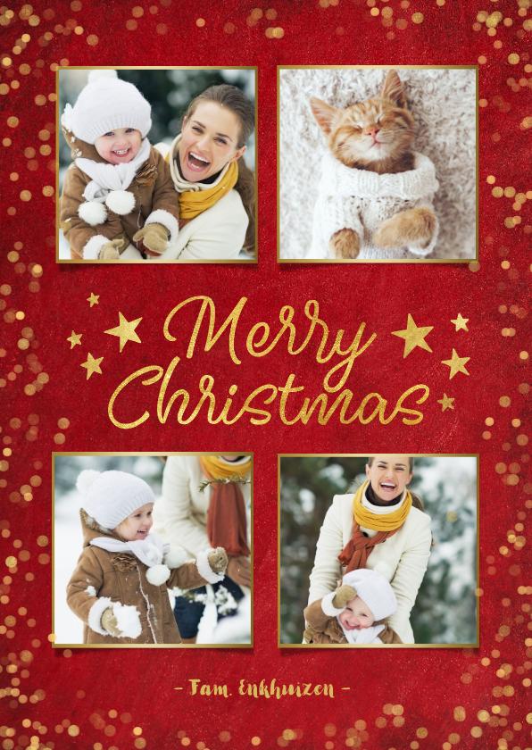 Kerstkaarten - Rode sfeervolle fotocollage kerstkaart met goudlook confetti