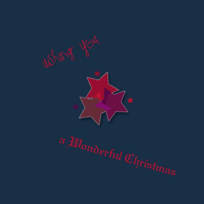 Kerstkaarten - rode sterren in donkerblauw