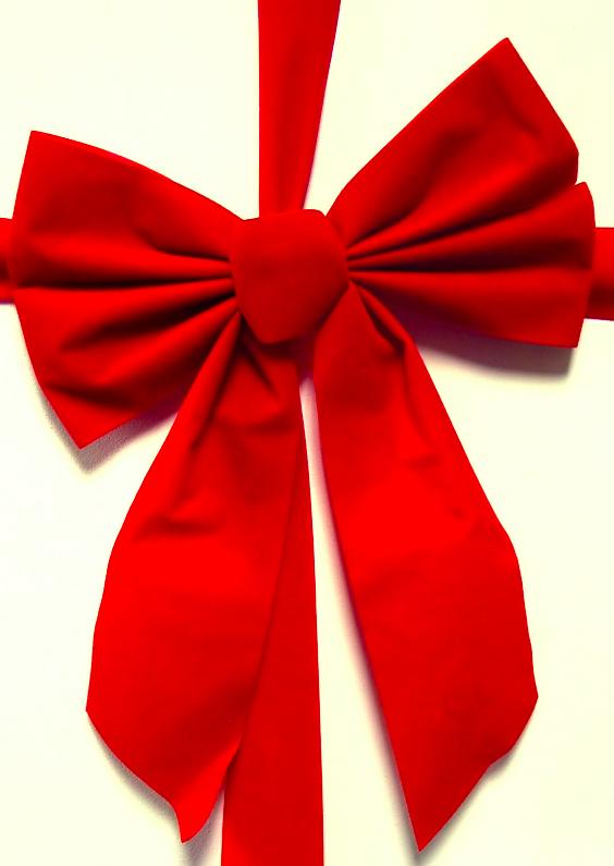 Kerstkaarten - Rode strik kerstkaart