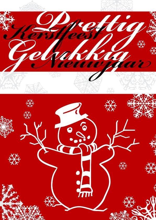 Kerstkaarten - Rood met sneeuwkristallen en sneeuwpop