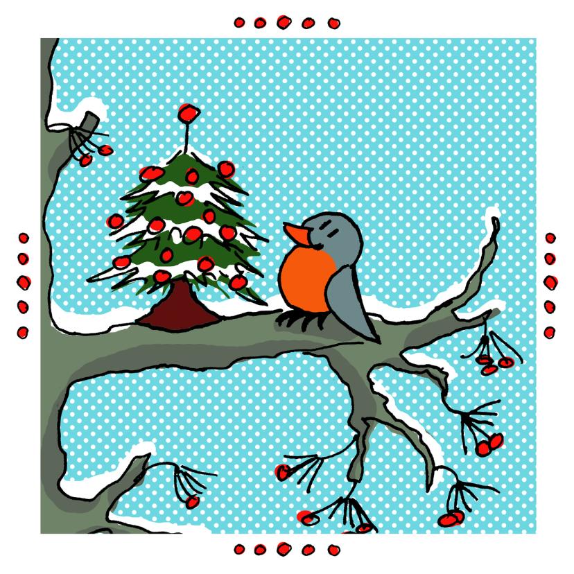 Kerstkaarten - roodborstje met kerstboom