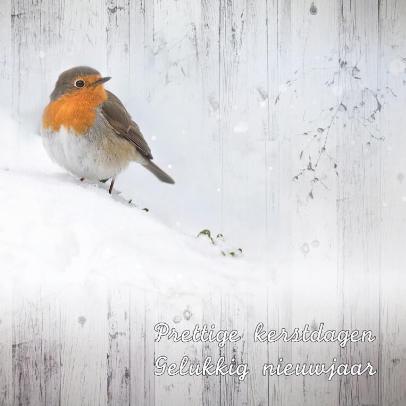 Kerstkaarten - Roodborstje op hout -kerst-
