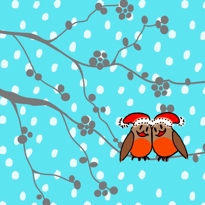 Kerstkaarten - roodborstjes in de sneeuw