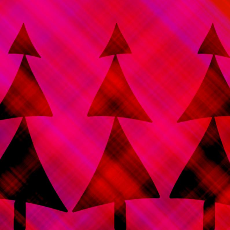 Kerstkaarten - Roze rode kerstboompjes
