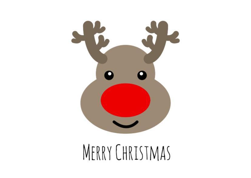 Kerstkaarten - Rudolf liggend - DH
