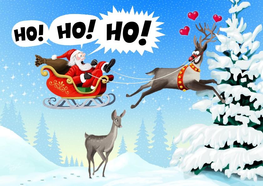 Kerstkaarten - Rudolph en Santa vliegen tegen de boom