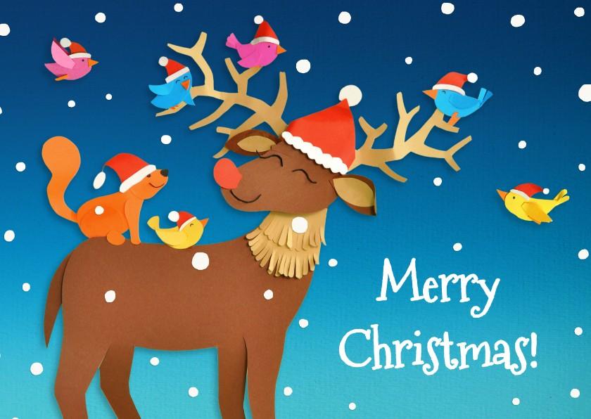 Kerstkaarten - Rudolph met vogeltjes
