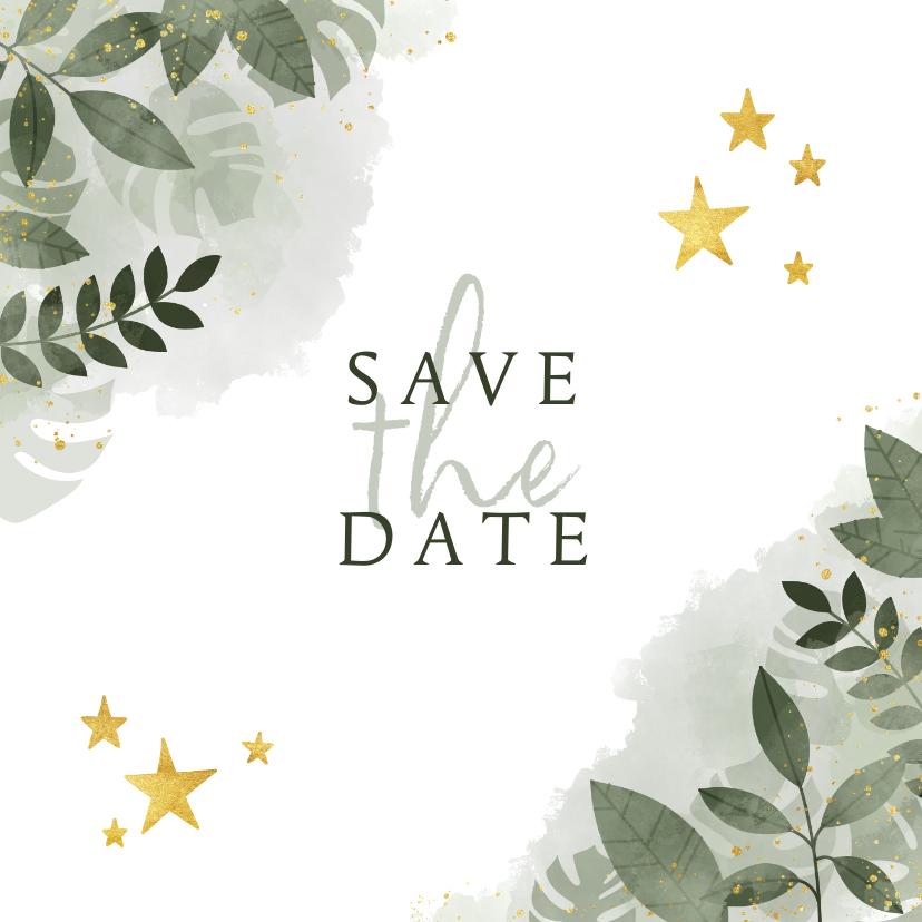 Kerstkaarten - Save the date kerstkaart botanische print en gouden sterren