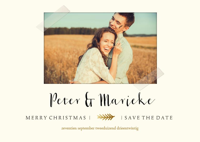 Kerstkaarten - Save the date kerstkaart met foto en gouden takje
