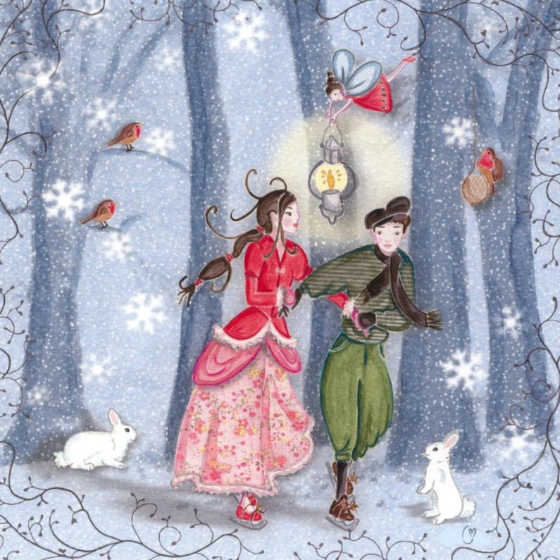 Kerstkaarten - Schaatsen Kerst Sneeuw Cartita Design