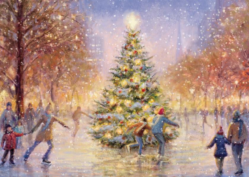 Kerstkaarten - Schaatsende mensen op het ijs rondom de kerstboom