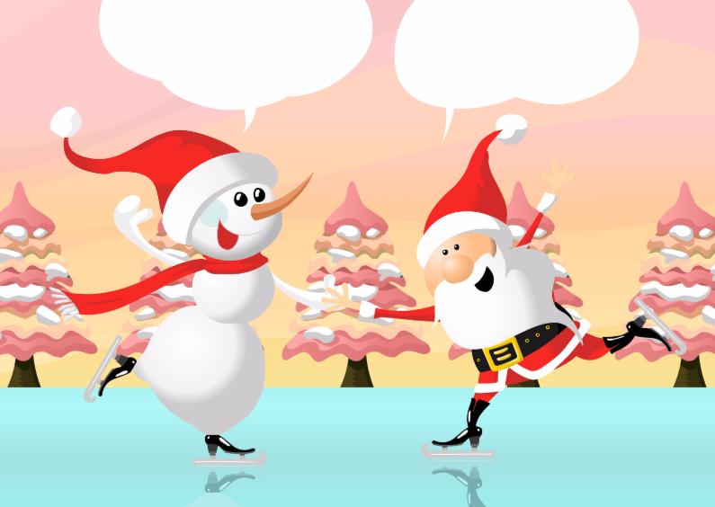 Kerstkaarten - Schaatsende sneeuwpop en Kerstmannetje