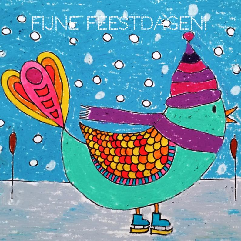 Kerstkaarten - Schaatsende vogel kleur