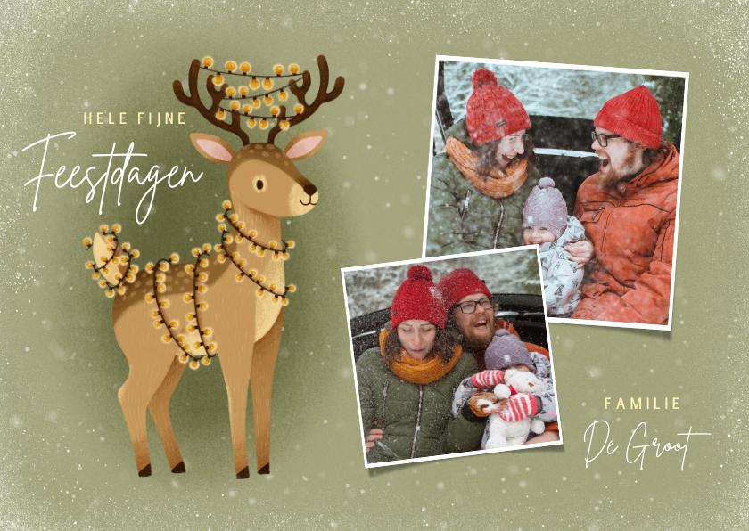Kerstkaarten - Schattige kerstkaart met hert kerstlampjes en foto's