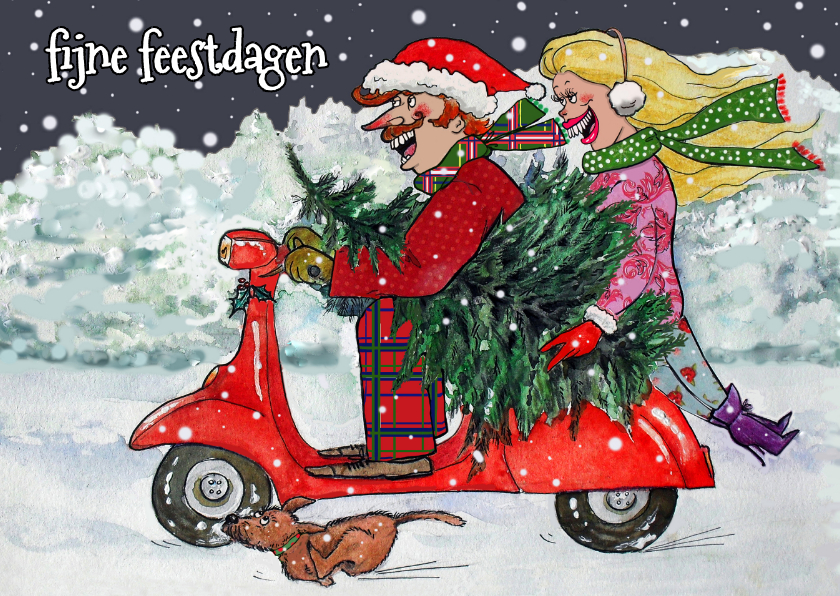 Kerstkaarten - Scooter in de sneeuw