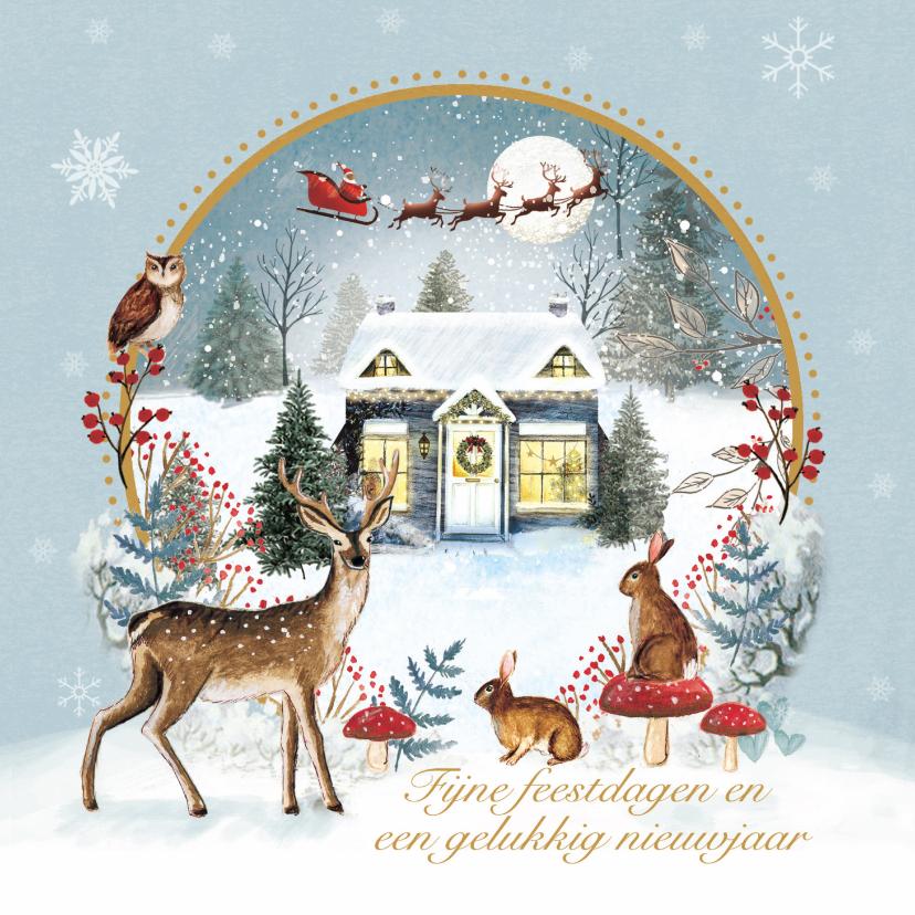 Kerstkaarten - Sfeervolle kerstkaart met huisje in de sneeuw