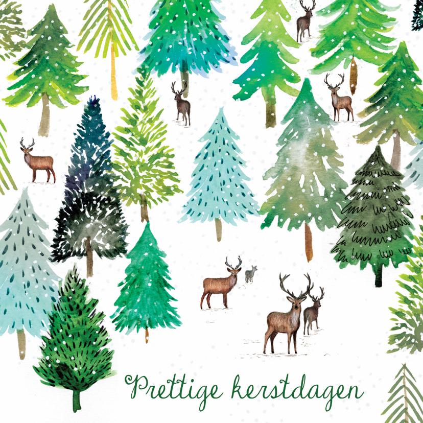Kerstkaarten - Sfeervolle kerstkaart met winter illustratie