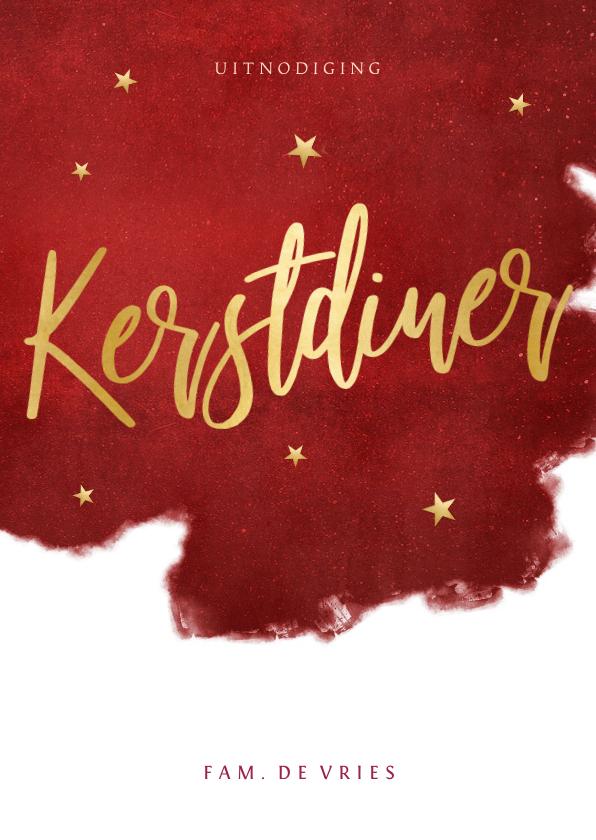 Kerstkaarten - Sfeervolle uitnodiging kerstdiner warmrood goud waterverf