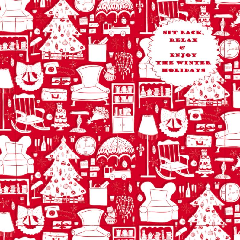 Kerstkaarten - Sit back, relax roodwit