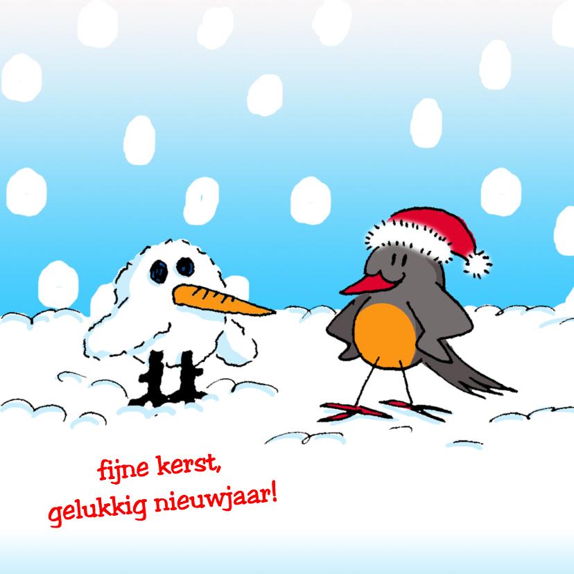 Kerstkaarten - sneeuwpop maken