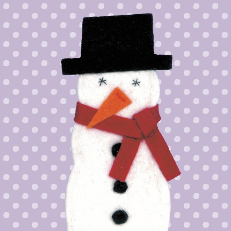 Kerstkaarten - Sneeuwpop van Vilt