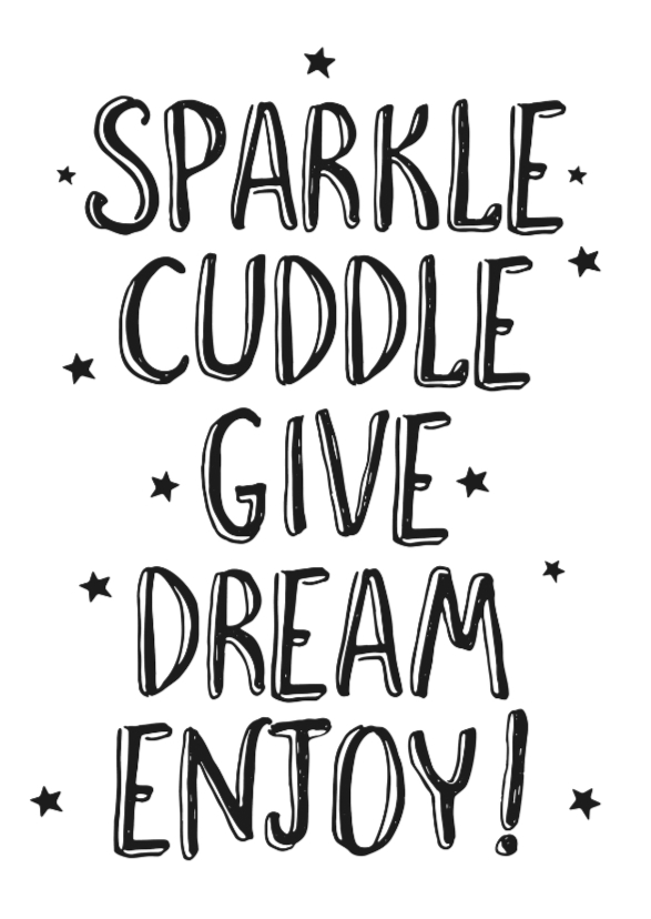 Kerstkaarten - Sparkle, cuddle, dive, dream....