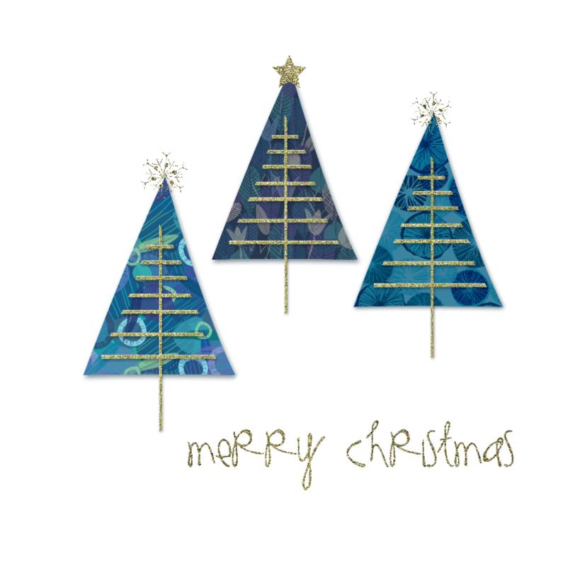 Kerstkaarten - speelse boompjes