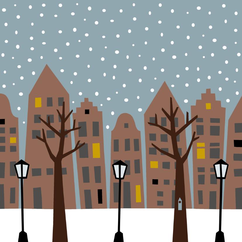 Kerstkaarten - Stad in de sneeuw overdag
