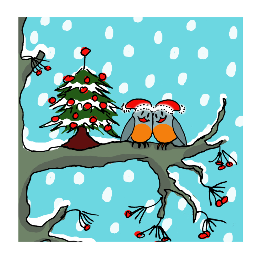 Kerstkaarten - Stelletje bij kerstboom