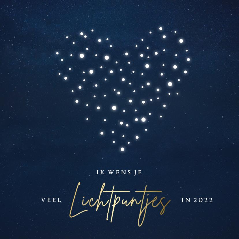 Kerstkaarten - Sterkte kerstkaart hart - ik wens je veel lichtpuntjes 2022