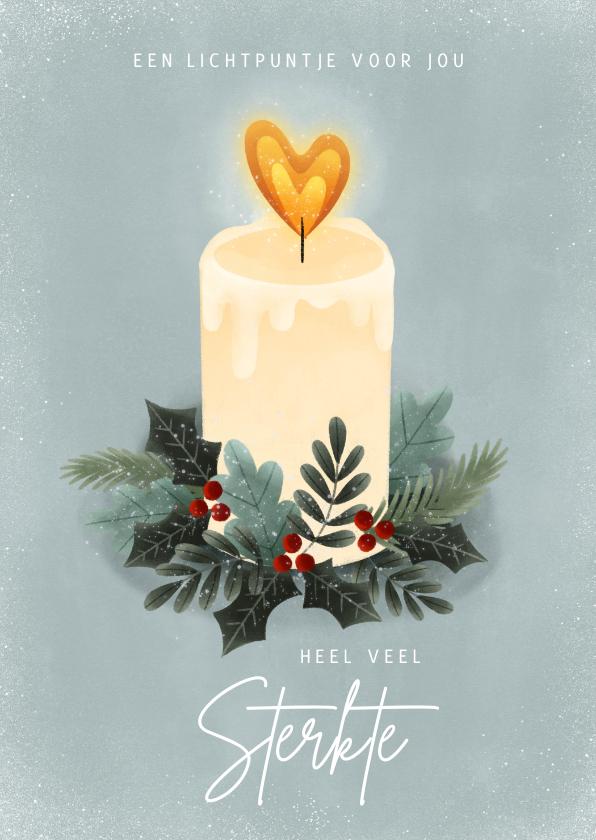 Kerstkaarten - Sterkte kerstkaart met kaarsje, kersttakjes en hartje