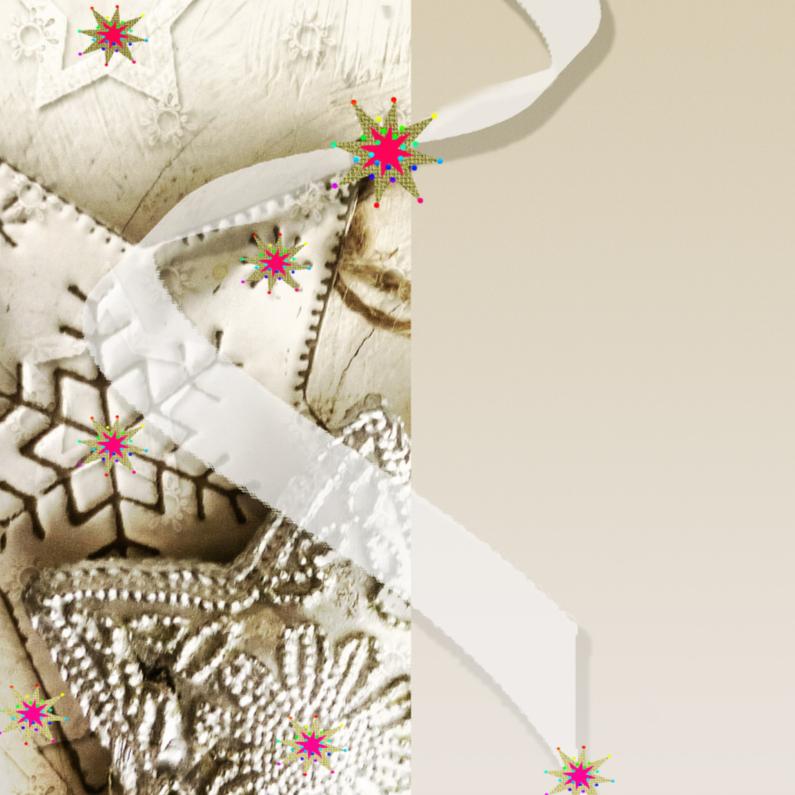 Kerstkaarten - Sterrenkaart met wit lintje