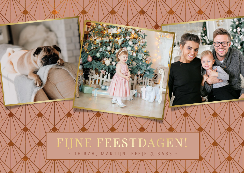 Kerstkaarten - Stijlvolle art -deco roze kerstkaart met 3 eigen foto's
