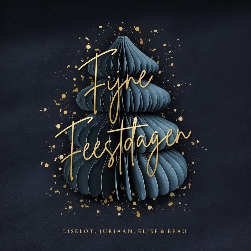 Kerstkaarten - Stijlvolle blauwe kerstkaart met kerstboom & gouden spetters