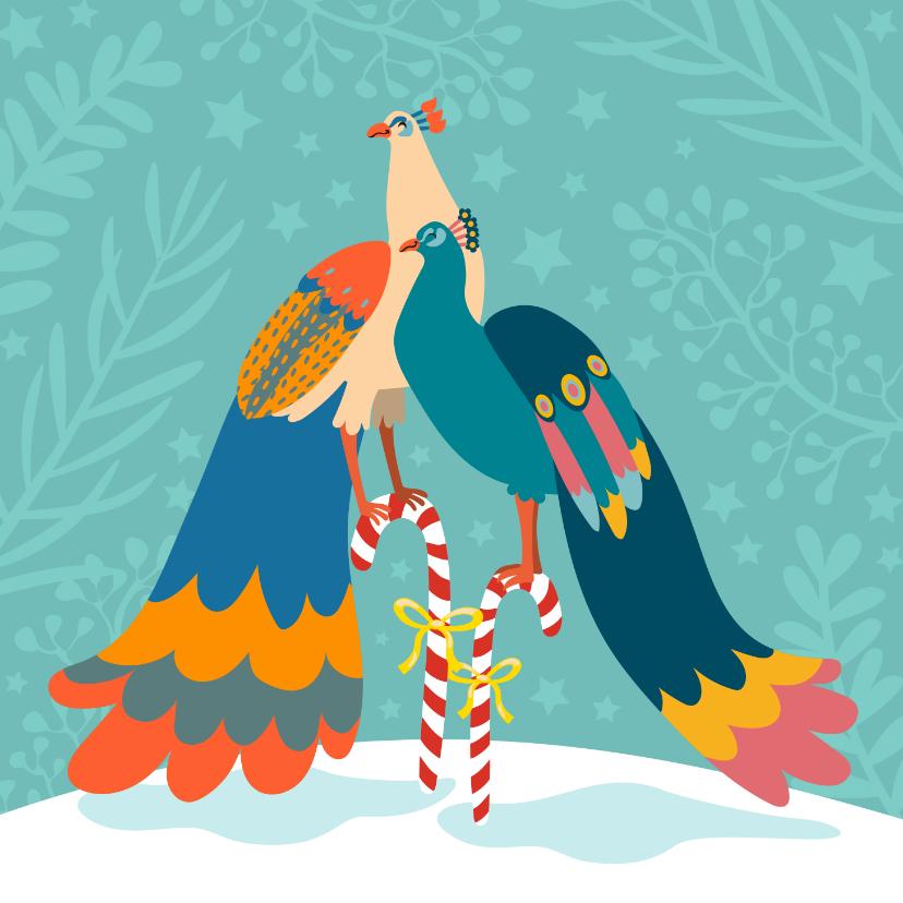 Kerstkaarten - Stijlvolle en kleurrijke kerstkaart met pauwen