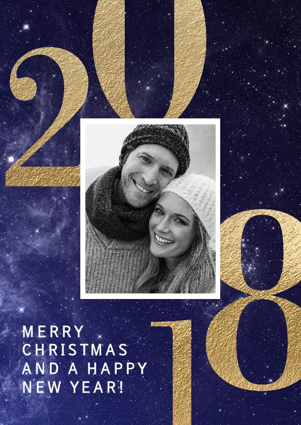 Kerstkaarten - Stijlvolle foto kerstkaart 2018 blauw