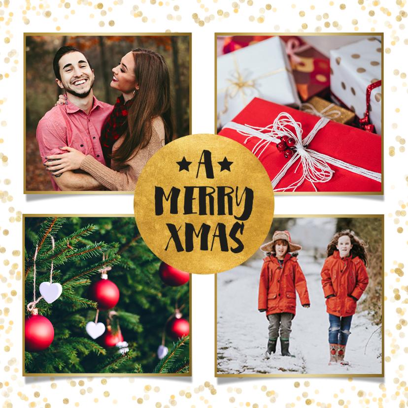 Kerstkaarten - Stijlvolle foto kerstkaart met gouden confetti en cirkel