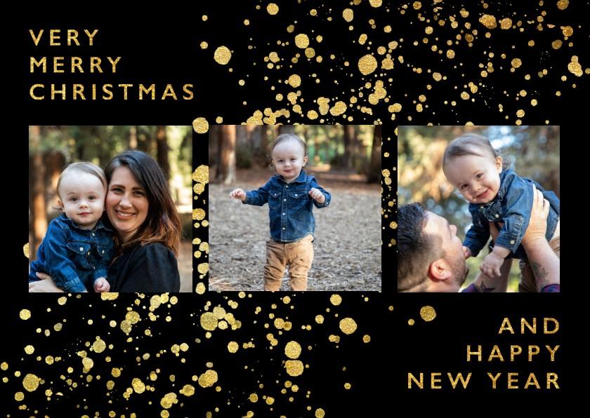 Kerstkaarten - Stijlvolle fotokaart met gouden confetti en typografie