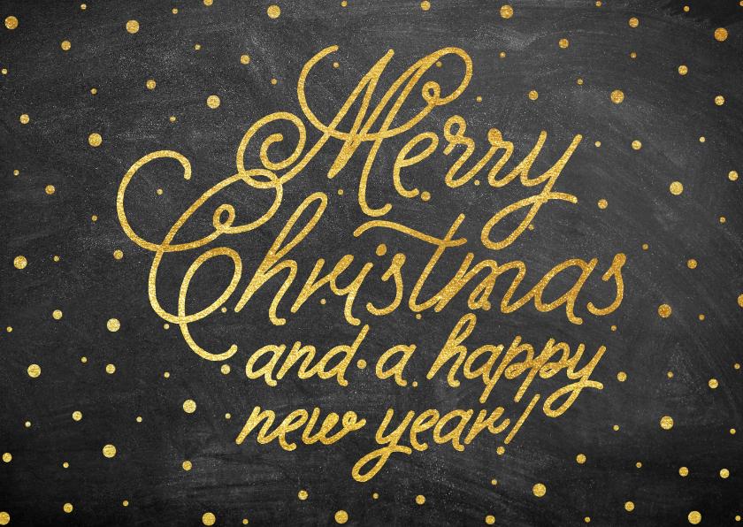 Kerstkaarten - Stijlvolle goudlook typografie kerstkaart met sneeuw