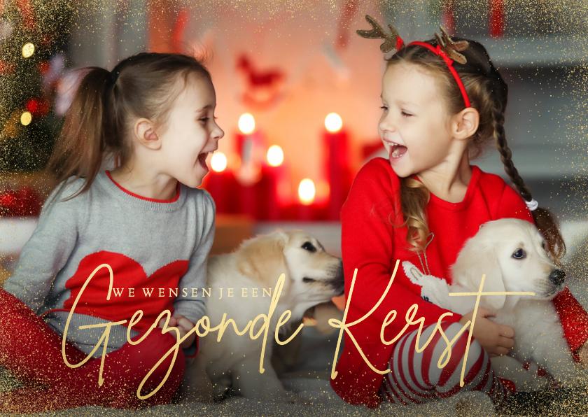Kerstkaarten - Stijlvolle grote foto kerstkaart met gezonde kerst goudlook