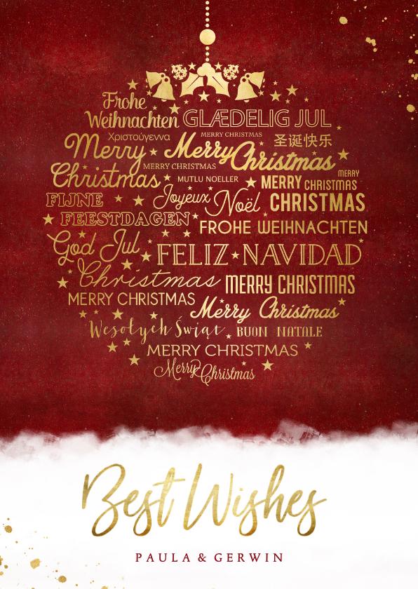 Kerstkaarten - Stijlvolle internationale kerstkaart met kerstbal