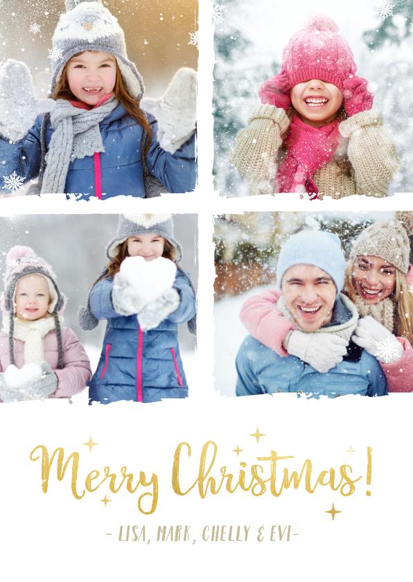 Kerstkaarten - Stijlvolle kerst fotocollage kaart met een witte achtergrond