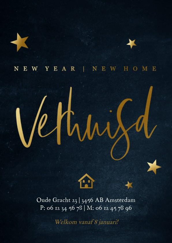 Kerstkaarten - Stijlvolle kerst verhuiskaart met goudlook tekst  en sterren