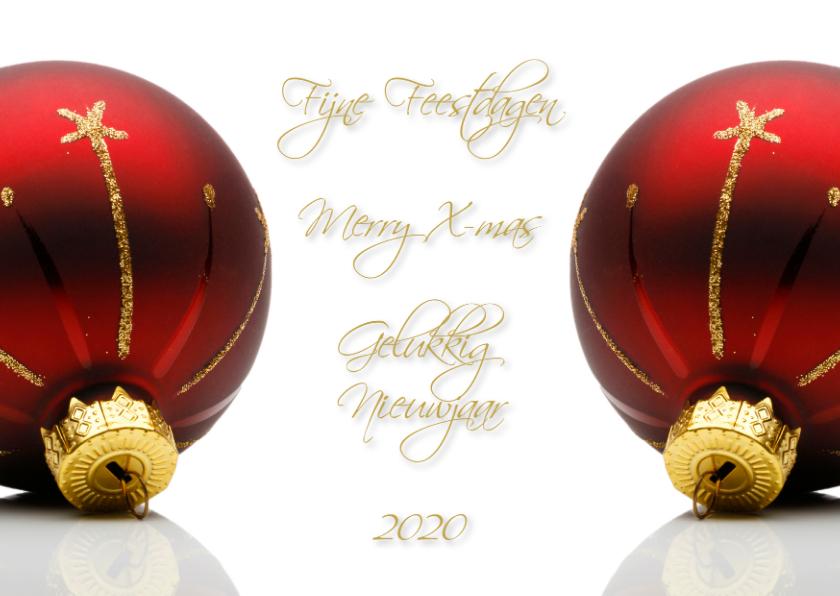 Kerstkaarten - Stijlvolle Kerstbal Rood 2019
