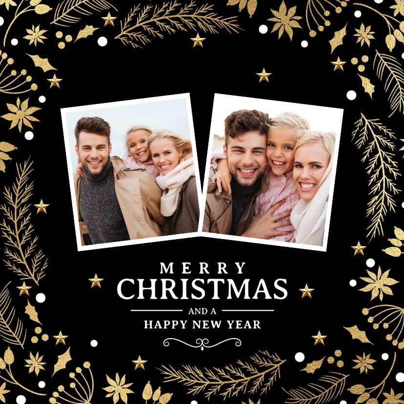 Kerstkaarten - Stijlvolle kerstkaart 2 foto's kersttakjes goud zwart