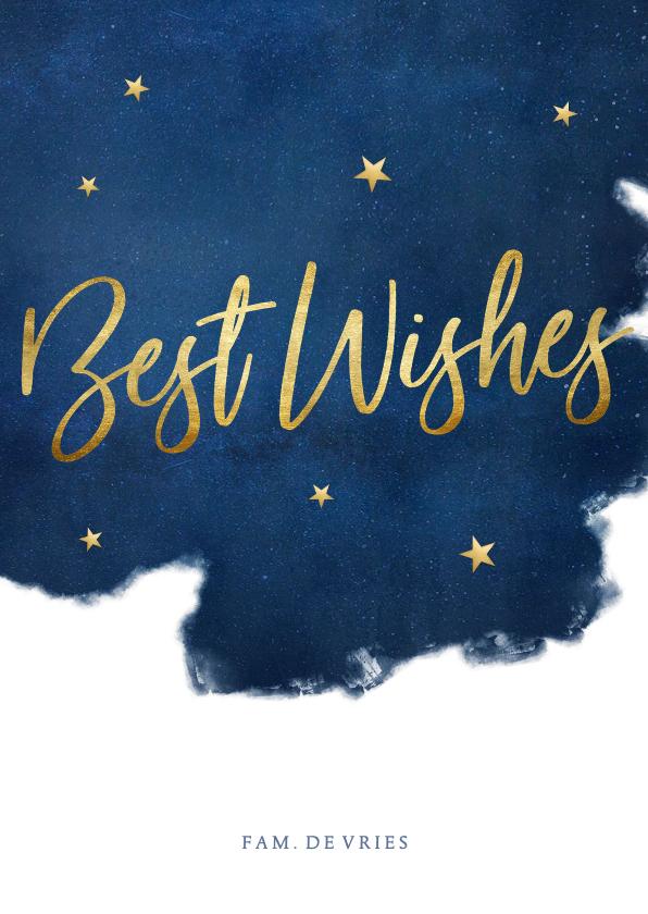 Kerstkaarten - Stijlvolle kerstkaart best wishes blauw met goudlook sterren