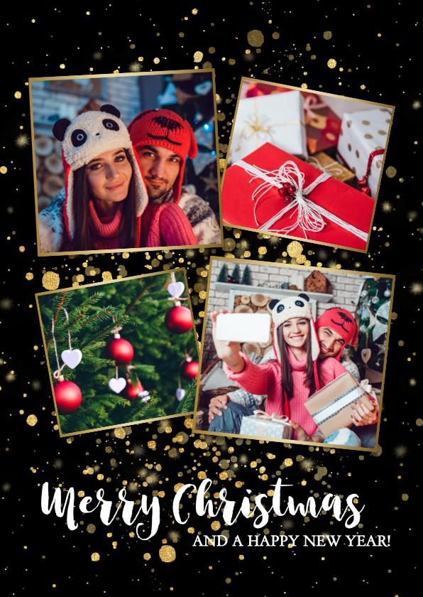 Kerstkaarten - Stijlvolle kerstkaart fotocollage met gouden confetti